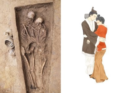 The couple's skeletons (left) and an artist's rendition of the pair (right)