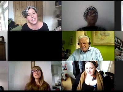 Covid-19 patients during their weekly vocal lessons as part of ENO Breathe.