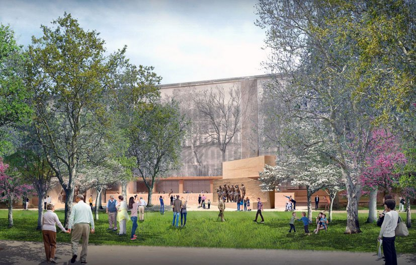 View of the proposed Eisenhower memorial from Independence Avenue and the National Air and Space Museum