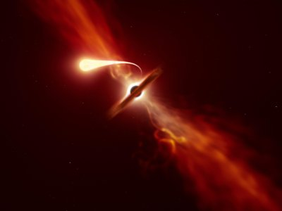 This illustration depicts a star (in the foreground) experiencing spaghettification as it's sucked in by a supermassive black hole (in the background) during a 'tidal disruption event'.