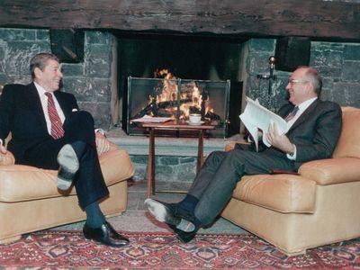 Soviet Leader Mikhail Gorbachev and President Ronald Reagan at the Geneva Summit.