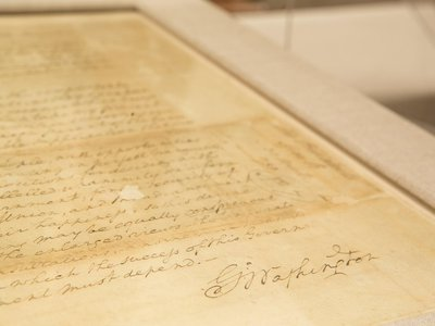 George Washington's handwritten inaugural speech, currently on display at the National Archives.