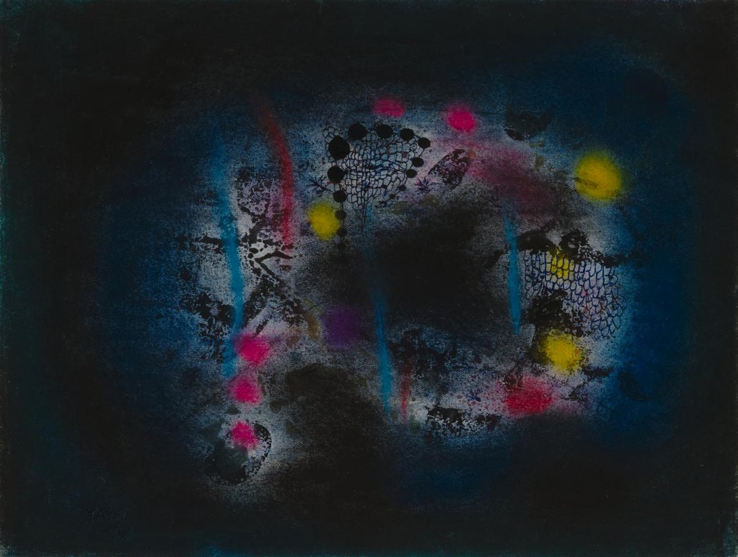 An artwork with a dark background and a circular abstract shape of pink, blue, purple, and yellow.