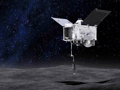 An artists concept of the Origins Spectral Interpretation Resource Identification Security - Regolith Explorer (OSIRIS-REx) spacecraft collecting a sample from the asteroid Bennu.