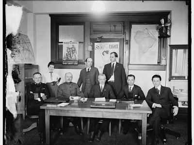 The censorship board. George Creel is seated at far right.