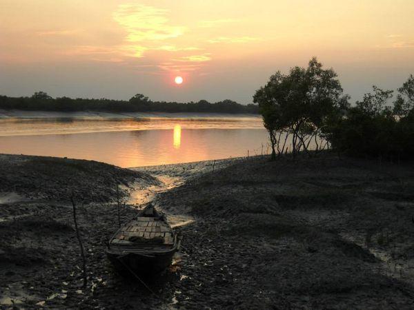Sunderbans, West Bengal, India - boat at sunset  thumbnail