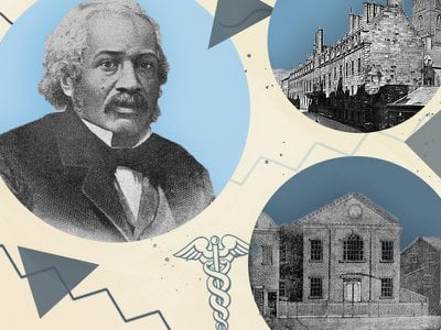 Smith, the first black American to earn a medical degree, was also a leading abolitionist and prolific writer. His alma maters included the African Free School #2 (bottom right) and the University of Glasgow (top right).