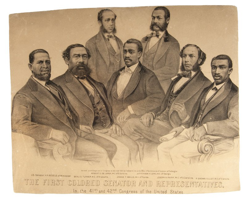 Black and white lithograph of seated men