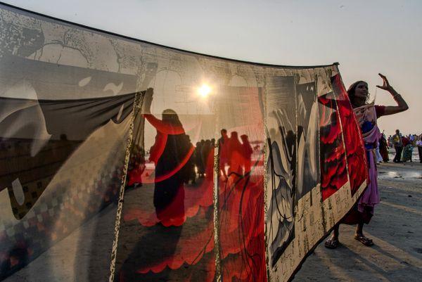 Sarre Drying at Ganga Sagar.  Nikon D750, 24-120 Lens, f/16, ISO-400, s-1/320s, f- 24mm thumbnail