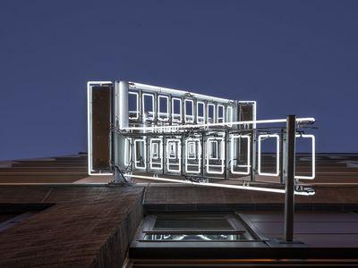 The Ladder (Sun or Moon), Illuminate SF, 1066 Market St., by Ivan Navarro, 2020.