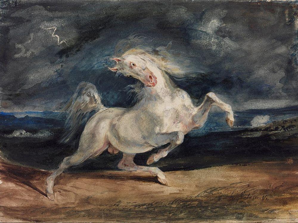 Eugene Delacroix - Horse Frightened by Lightning