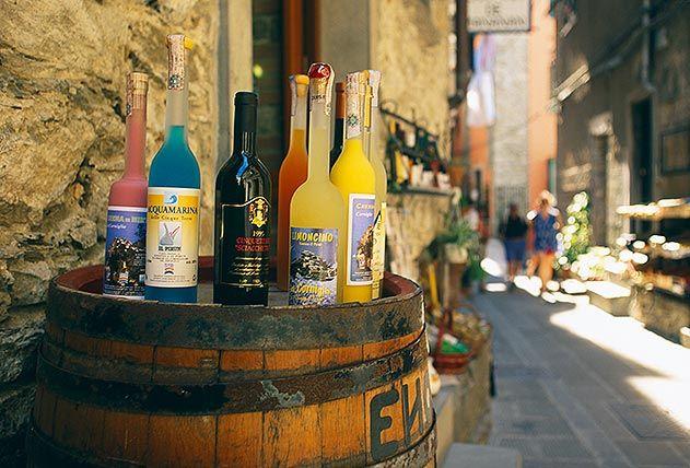 Wine bottles Cinque Terre Italy