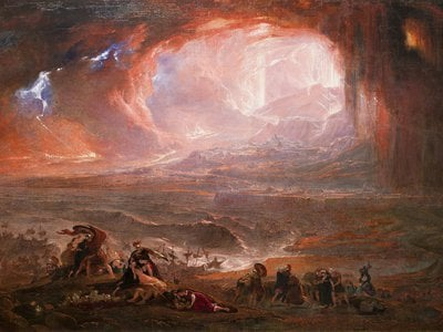 This 1822 painting by John Martin envisions the eruption of Mount Vesuvius. New research suggests a skeleton found in Herculaneum, a seaside town neighboring Pompeii, belonged to a Roman soldier sent to rescue victims from the volcano.