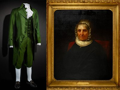 A suit worn by actor Lin-Manuel Miranda for the popular Broadway hit Hamilton  and a mid-1800s portrait of Elizabeth Schuyler Hamilton by Daniel Huntington arrive at the Smithsonian.