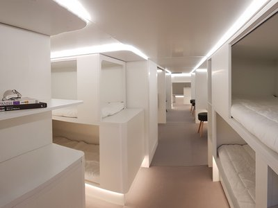 Airbus and Zodiac Aerospace have teamed up on lower-deck modules like this one, with sleeping berths.