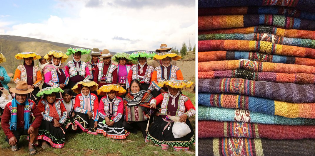 Two photos side by side: on the left, a group of men and women posing outdoors in festive colorful hats and clothing. On the right, a stack of colorful textiles.