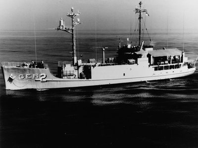The USS Pueblo, a Navy intelligence-gathering ship, was patrolling international waters in January 1968 when it was captured by North Korean vessels.