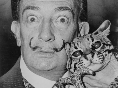 Salvador Dalí with his pet ocelot, Babou, and cane. 1965.