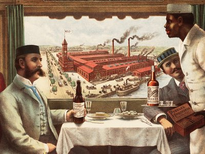 An 1894 advertisement shows the interior of a Pullman dining-car belonging to the Cincinnati, Hamilton, and Dayton Railway. The view through the window depicts the Mosler Safe Company factory in Hamilton, Ohio.