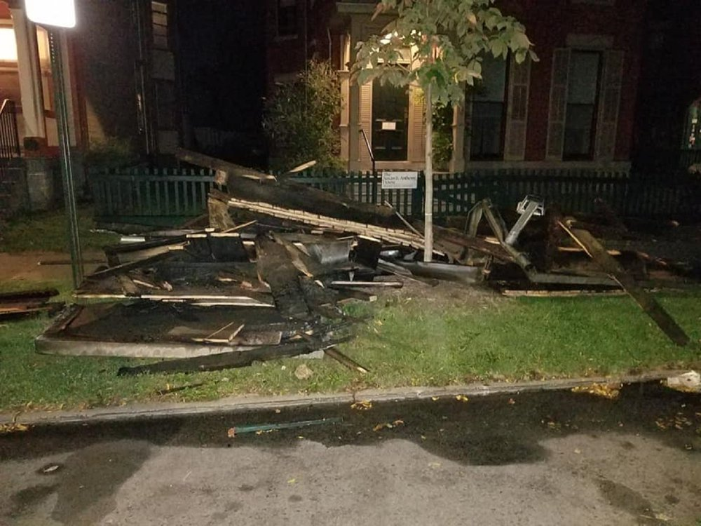 Remains of porch destroyed by fire