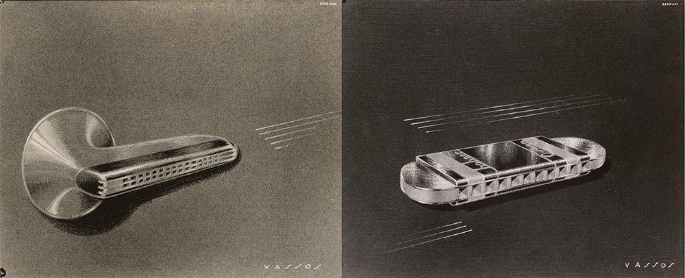 Concept sketches for harmonicas designed by John Vassos.