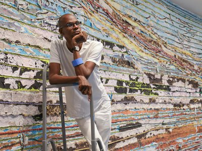 Mark Bradford's installation Pickett's Charge at the Hirshhorn spans almost 400 feet and consists of eight canvases measuring 12 feet tall and more than 45 feet long.