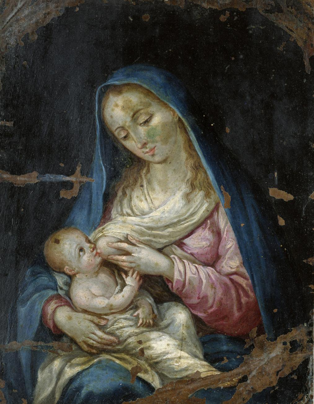 An oil painting of a woman breastfeeding a baby.