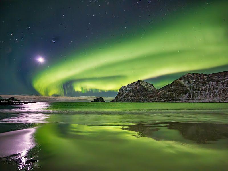 Moon Over Northern Lights