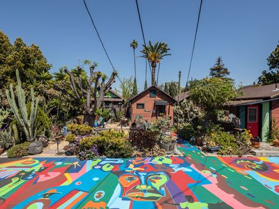 Artists Roderick and Rozell Sykes founded St. Elmo Village, a creative enclave that could become a Los Angeles historic landmark, in 1969.