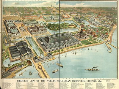 Bird's eye view of the 1893 Columbian Exposition, which Olmsted was instrumental in planning