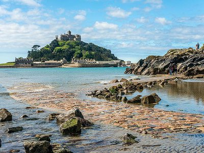 The small, rocky island of St. Michael's Mount is off the coast of Cornwall, England.