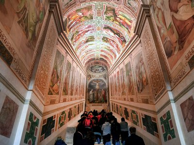 Faithfuls kneel on the new restored Holy Stair (Scala Santa) at San Giovanni in Laterano in Rome.