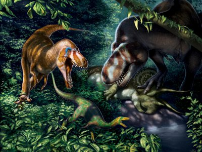 An artist's illustration of juvenile Tyrannosaurus rex, which were more fleet-footed than their adult counterparts