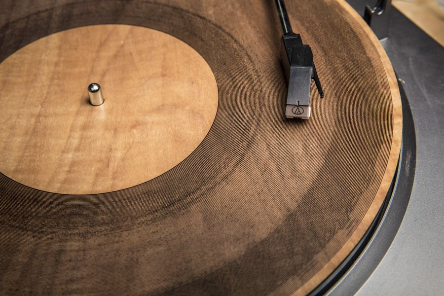 A laser cut maple wood record by Amanda Ghassaei. via Instructables