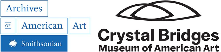 Graphic logos of the Archives of American Art and the Crystal Bridges Museum of American Art.