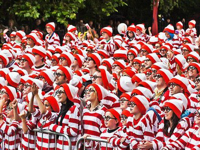 A record-breaking gathering of Waldo (known across the pond as 'Wally') impersonators in Dublin, Ireland, in 2011.