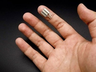 This wearable sensor harvests sweat from the fingertips to generate the electricity it needs to measure things such as heart rate and blood-sugar.