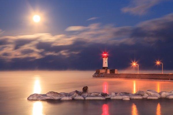 Full Moon and Sea Smoke over Lake Superior thumbnail