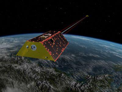 An illustration of GRACE-FO in orbit.
