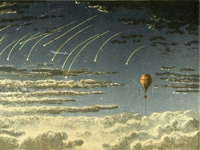 Falling stars as seen on a balloon journey in pioneering aeronaut James Glaisher's book Travels in the Air. A record-setting balloon flight manned by Glaisher is the subject of the new movie The Aeronauts.