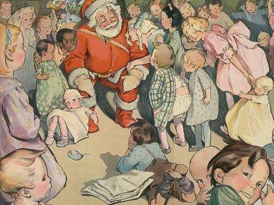 Children cluster around Santa in this 1903 illustration.