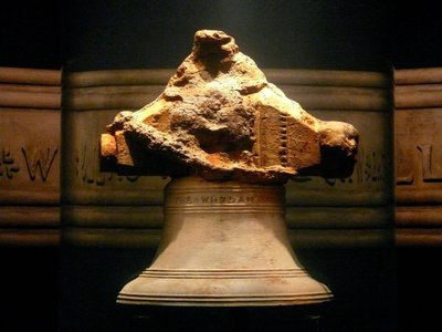 A bell previously recovered from the wreck of the Whydah pirate ship