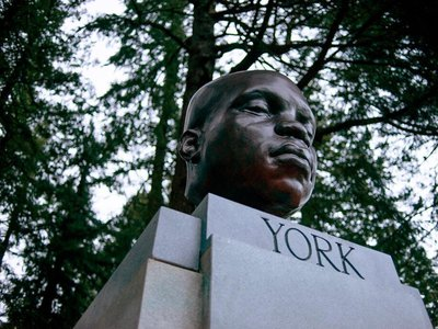 The bust depicts York, an enslaved member of the 1804 Lewis and Clark expedition.