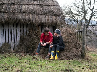 At Sky Hill, guests learn how to throw pottery and make sweet-scented hay by gathering grass into small heaps that will dry in the sun. Marius and Cornelia bought the land in 2006 and have used it to teach travelers of all ages about organic farming and construction.