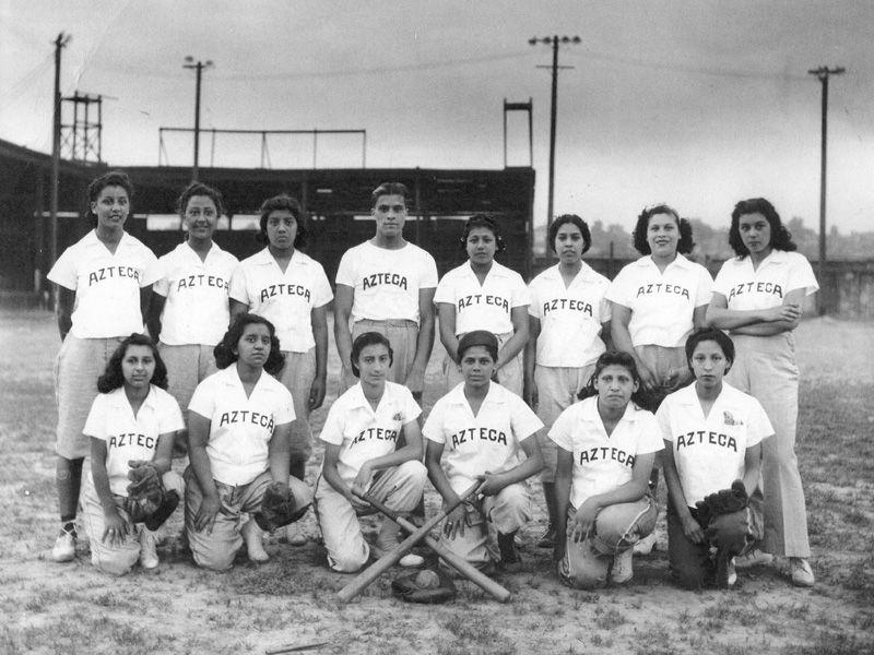 Black and white photo of women's baseball team