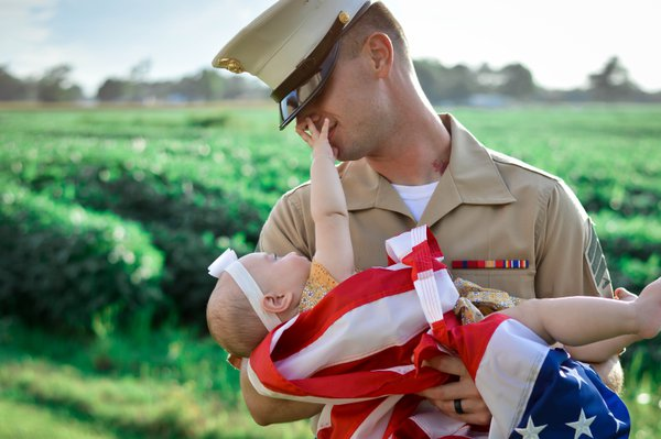 A Marine and his daughter. thumbnail