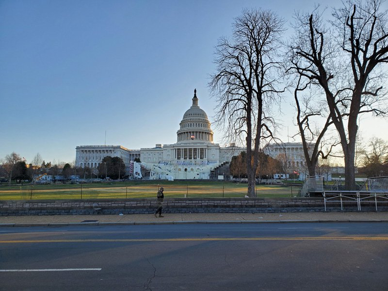 The US Capitol surrounded by fencing