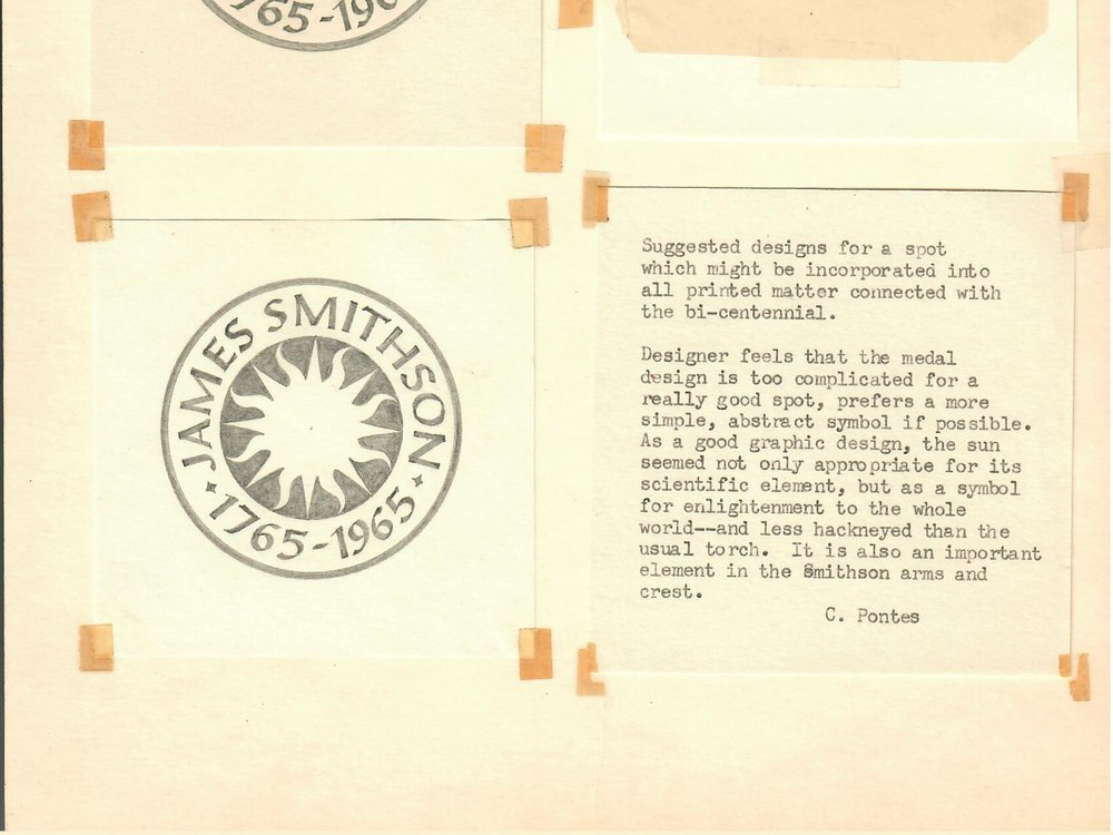 Crimilda Pontes created several designs for the James Smithson Bicentennial in 1965, including what would become the Institution's signature sunburst. (Smithsonian Archives, Acc. 89-024, Box 4., Smithsonian Institution Archives)