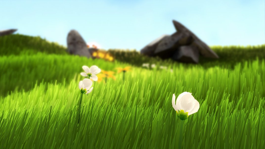 Video game scene that depicts a grassy field with white flowers