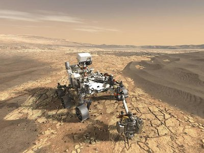 An artist's rendering of the Perseverance rover on Mars